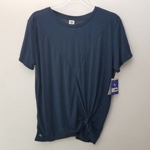 Joy Lab Top Solid Navy Blue T-shirt Side Tie Knot